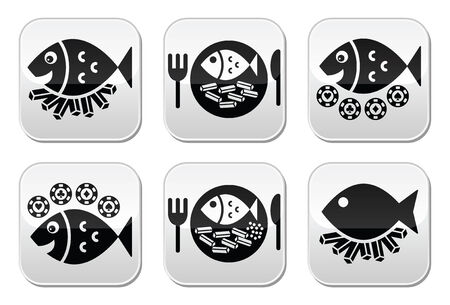 supper: Fish and chips vector buttons set