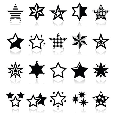 Stars black icons with reflection isolated on white Vector