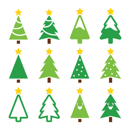 Christmas green tree with star icons set Vector