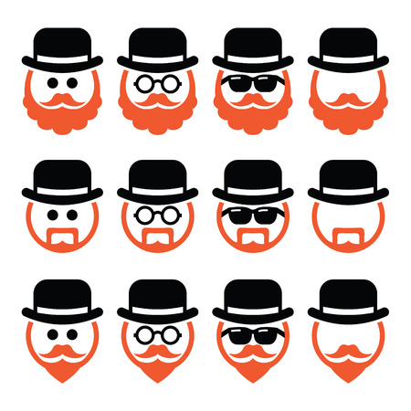 goatee: Man in hat with ginger beard and glasses icons set