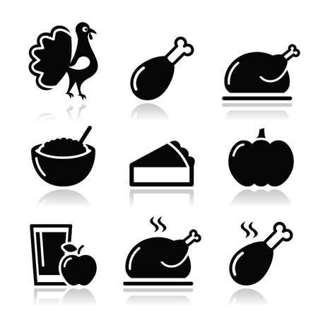 Thanksgiving Day food icons set - turkey, pumpkin pie, cranberry sauce, apple juice Vector