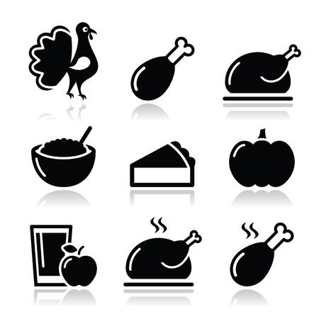 Thanksgiving Day food icons set - turkey, pumpkin pie, cranberry sauce, apple juice Vector
