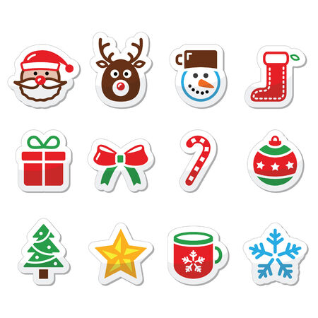 Christmas colorful icons set - Santa, present, tree, Rudolf Vector