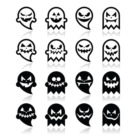 october 31: Halloween scary ghost vector black icons set