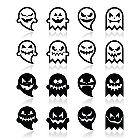 Halloween scary ghost Vektor schwarze Symbole gesetzt Standard-Bild - 31770266