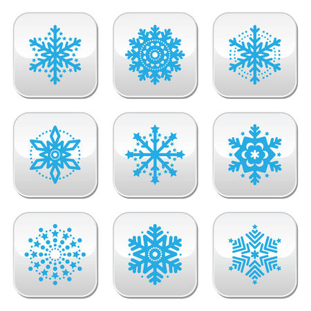 snow flake: Snowflakes, winter blue vector buttons set Illustration