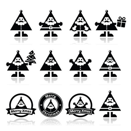 pom pom: Santa Claus icons, Merry Christmas icon labels