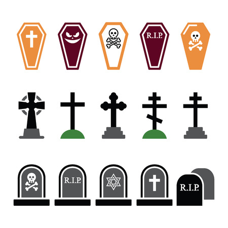 Halloween, graveyard colorful icons set - coffin, cross, grave Vector