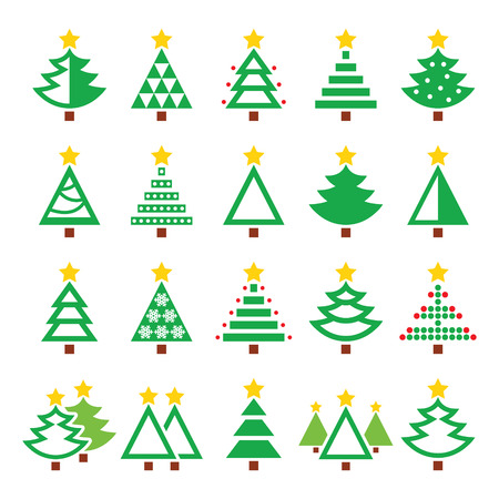 pine three: Christmas green tree - various types vector icons set