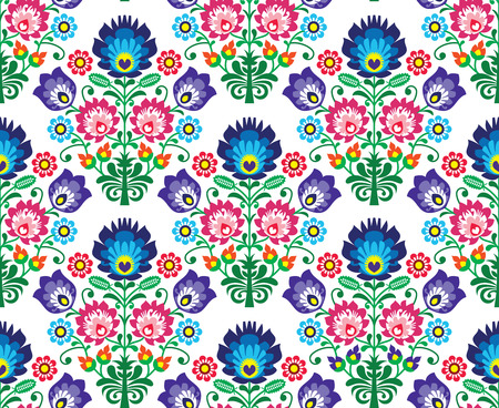 Seamless Polish, Slavic folk art floral pattern - wzory lowickie, wycinanka