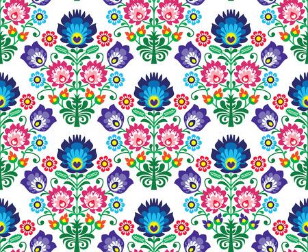slavic: Seamless Polish, Slavic folk art floral pattern - wzory lowickie, wycinanka