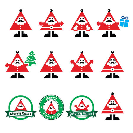 Santa Claus icons, Merry Christmas icon labels Vector