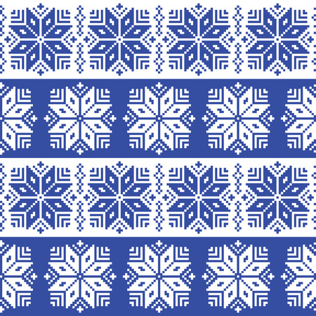 Traditional ornamental winter navy knitted pattern - Nordic style Vector