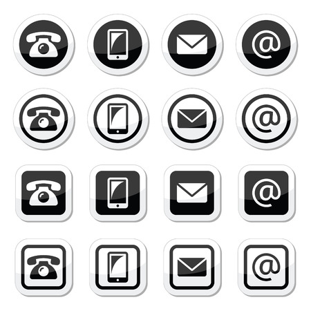email contact: Contact icons in circle and square set - mobile, phone, email, envelope
