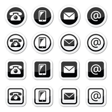 email us: Contatti icone in cerchio e quadrato poggiante - mobile, telefono, email, busta