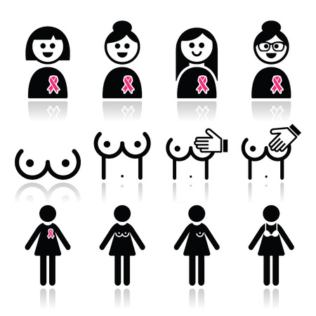 black breast: Breast cancer, woman with pink ribbon icons set