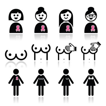 big boobs: El cáncer de mama, mujer con iconos de la cinta rosa establecidos