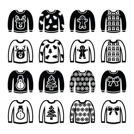 Ugly Christmas sweater on jumper icons set Illustration