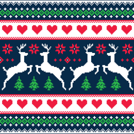 Winter, Christmas seamless pixelated pattern with deer and hearts Vector