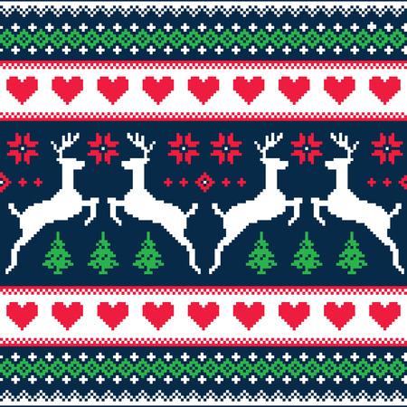 Winter, Kerst naadloze korrelig patroon met herten en harten Stock Illustratie