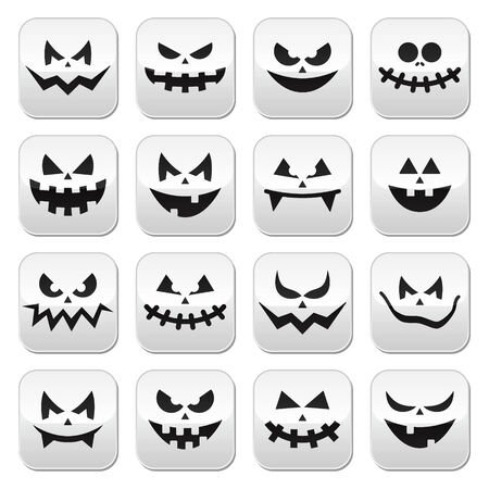 scary night: Scary Halloween pumpkin faces buttons set Illustration