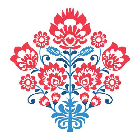 Polish Folk art pattern with flowers - wzory lowickie, wycinanka Ilustração