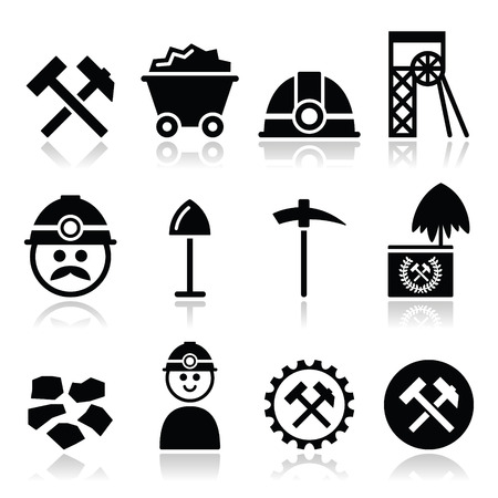 contruction: Coal mine, miner icons set