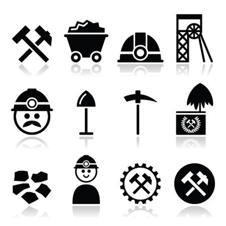 Kolenmijn, mijnwerker pictogrammen instellen Stock Illustratie