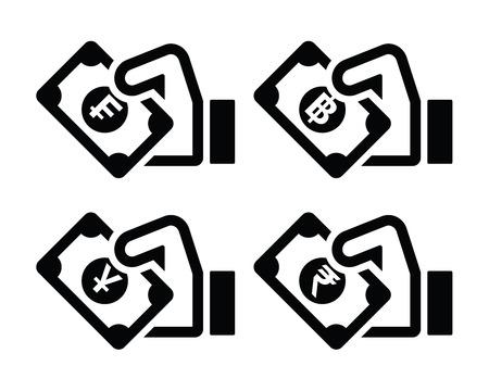 yuan: Hand with money icon - franc, baht, yuan, rupee symbols