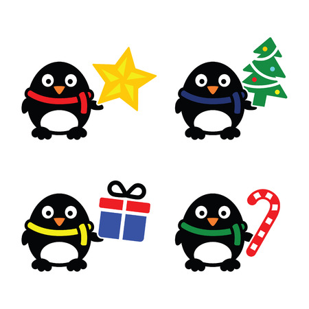 Christmas cute penguin vector icons set Vector