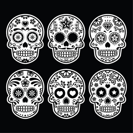 Mexican sugar skull, Dia de los Muertos icons set on black Vector