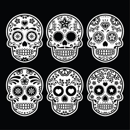 Mexican sugar skull, Dia de los Muertos icons set on black Vector