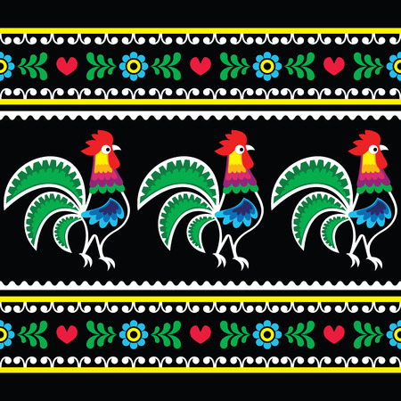 Polish folk art pattern with roosters on black - Wzory lowickie, Wycinanka Vectores