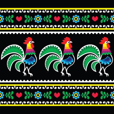 Polish folk art pattern with roosters on black - Wzory lowickie, Wycinanka Illustration