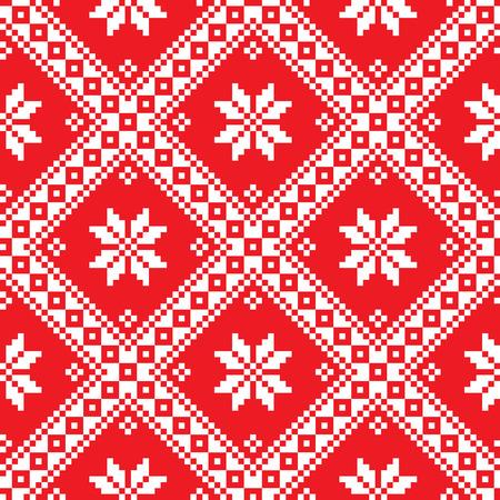 slavic: Seamless Ukrainian Slavic folk art red embroidery pattern