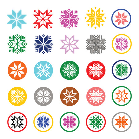 Colorful pixelated snowflakes, Christmas icons Vector