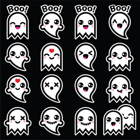 Kawaii cute ghost for Halloween icons set on black Vector