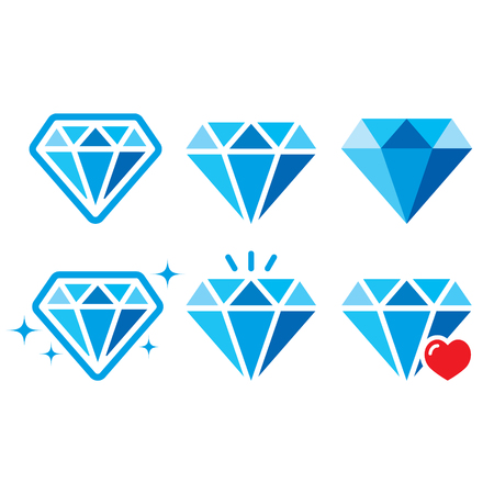 Diamond, luxury blue icons set - wealth concept Vector