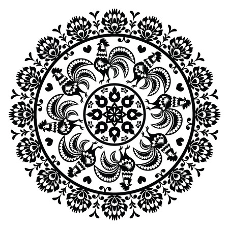 Monochrome Polish folk art pattern in circle with roosters - Wzory Lowickie, Wycinanka Vector