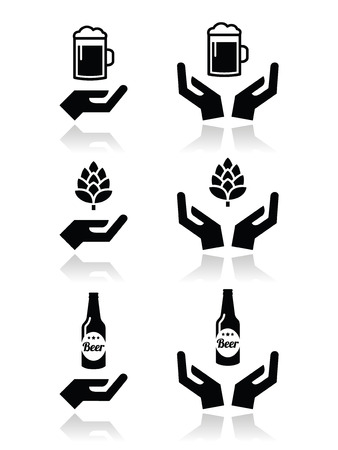 Beer bottle and glass, hops with hands icons set