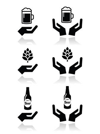 cerveza negra: Botella de cerveza y vidrio, lúpulo con iconos manos establecidos Vectores
