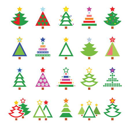 seasonal symbol: Christmas tree - various types vector icons set