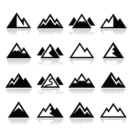 mountain holidays: Mountain vector icons set Illustration