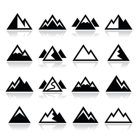 Mountain vector icons set Vector