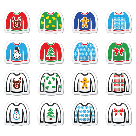 Ugly Christmas sweater on jumper icons set Illustration