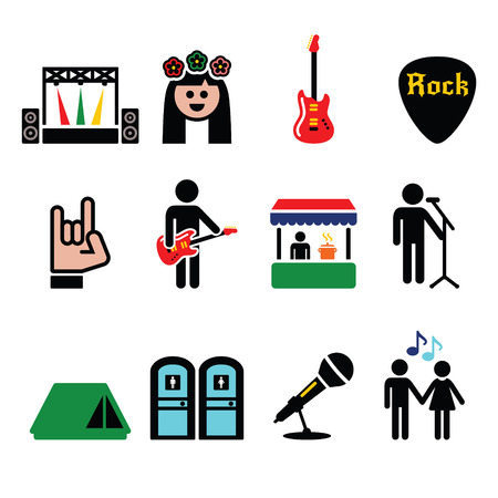 portable player: Music festival, live concert vector icons set