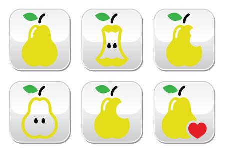 leaf shape: Pear, pear core, bitten, half vector buttons Illustration