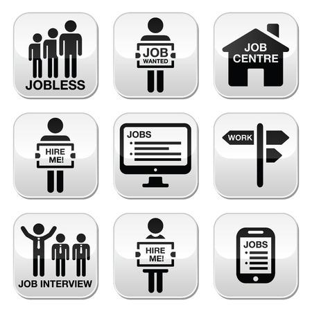 unemployment: El desempleo, el trabajo busca en los botones del vector conjunto