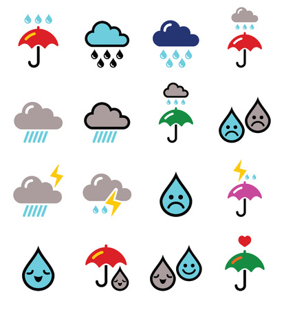 monsoon clouds: Rain, thunderstorm, heavy clouds  vector buttons set