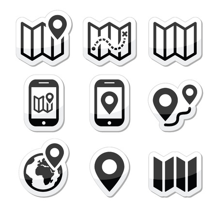 travel phone: Map travel icons set